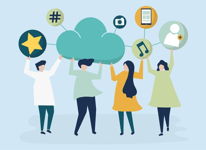 People holding cloud and social networking icons illustration ...