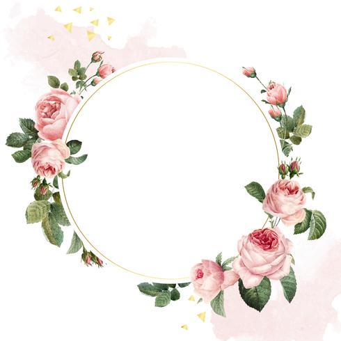 Vector de marco de rosas rosadas redondas en blanco sobre fondo blanco y rosa