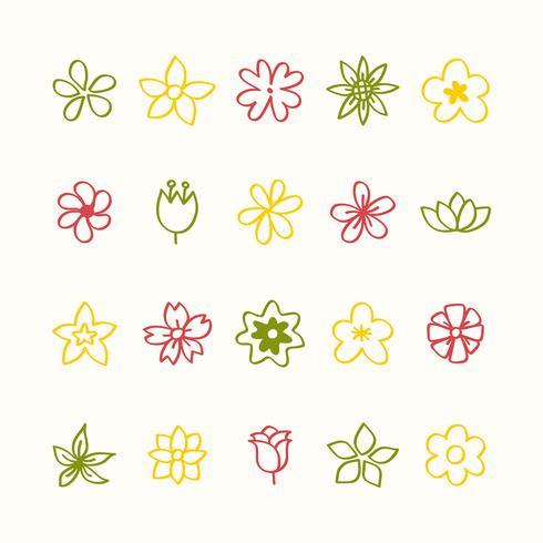Ensemble d'icônes d'icônes de fleurs vecteur
