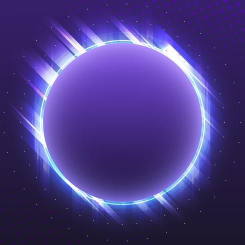 Vecteur de panneau de néon de cercle violet blanc