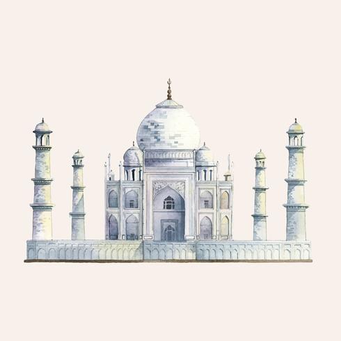 The Taj Mahal painted by watercolor