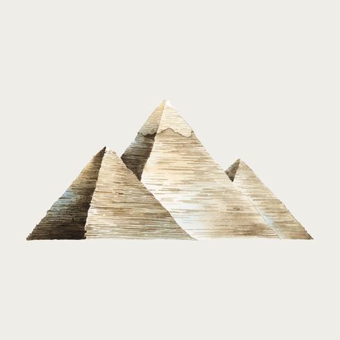 Den stora pyramiderna av Giza vattenfärg illustration