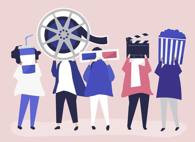 Caractères des personnes détenant une illustration d'icônes de film