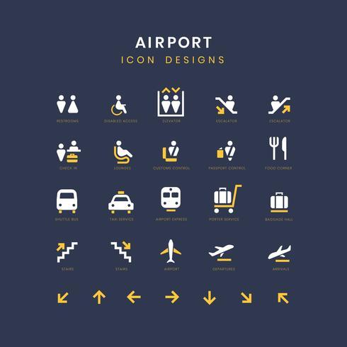 Flygplats service tecken vektor uppsättning