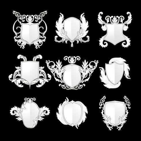 Vit barock sköldelement vektor uppsättning