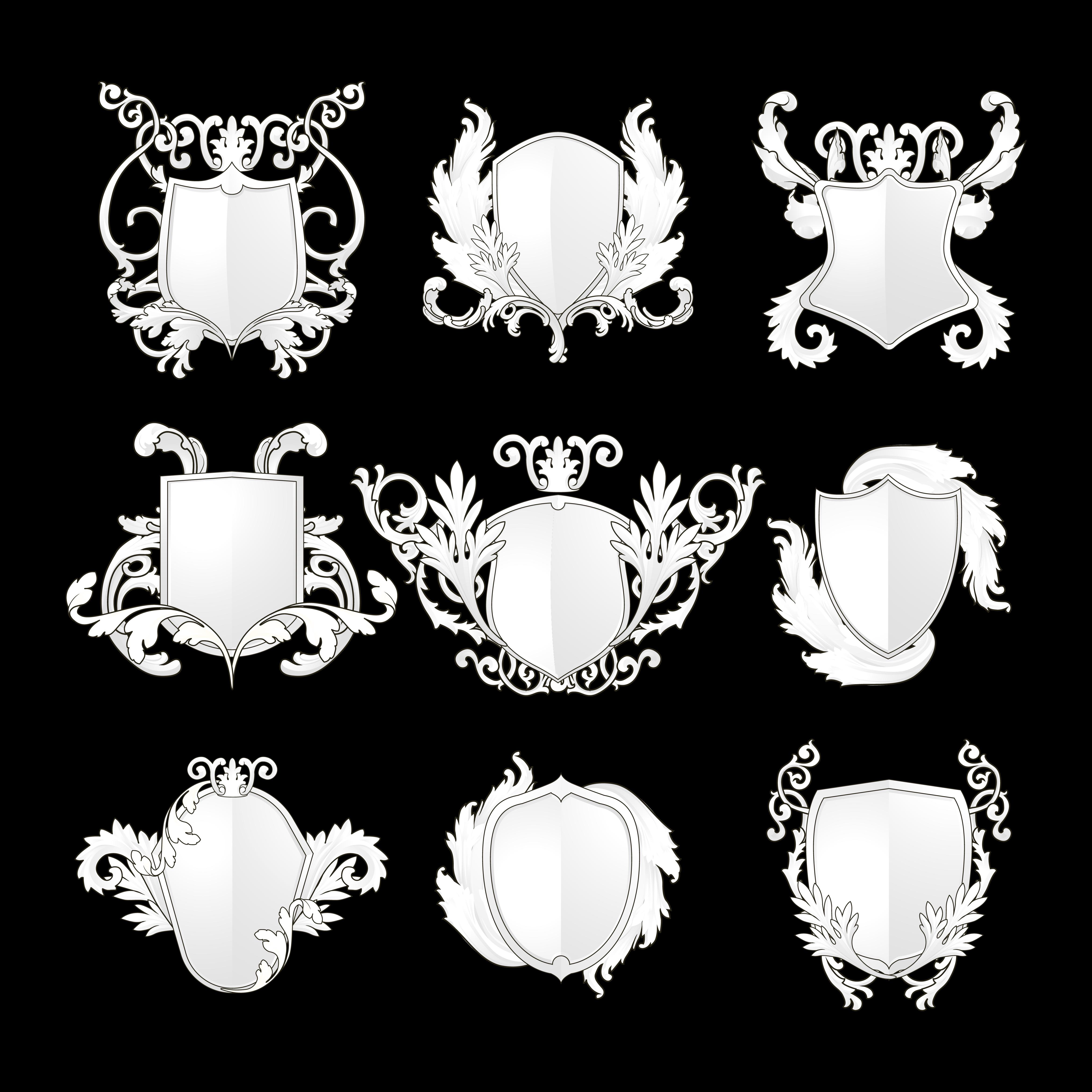 Black Baroque Shield Elements Vector: White Baroque Shield Elements Vector Set