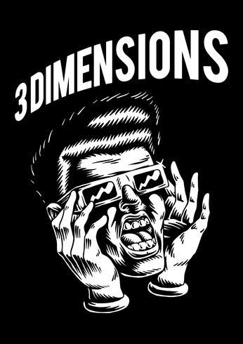 Illustrazione di carattere del film di 3 dimensioni abbozzato
