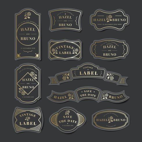 Vintage bröllopsinbjudan etikett vektor uppsättning
