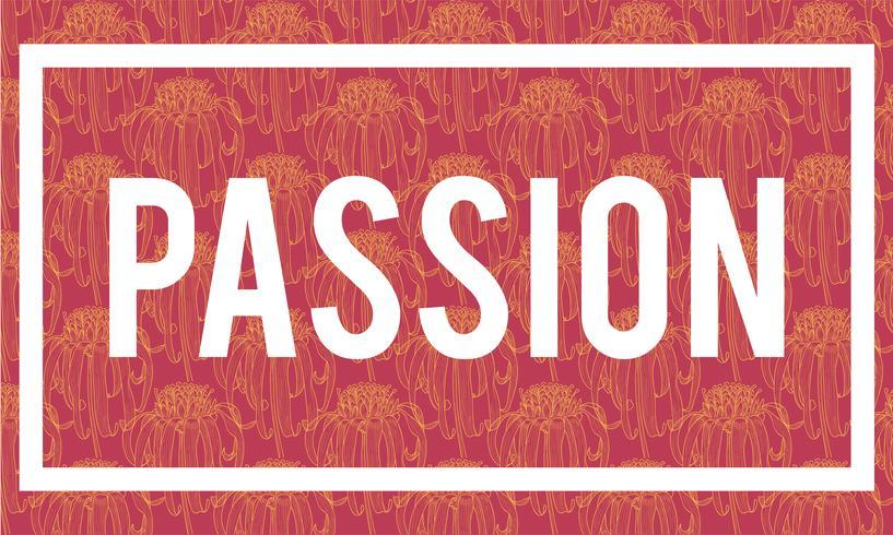 Illustration av passionsord på röd bakgrund