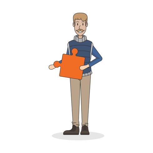 Illustratie van een man die een puzzelstukje houdt