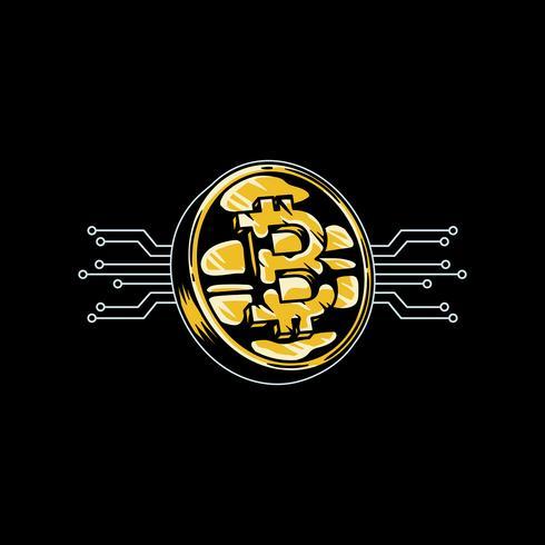 Dibujado a mano ilustración de icono de bitcoin