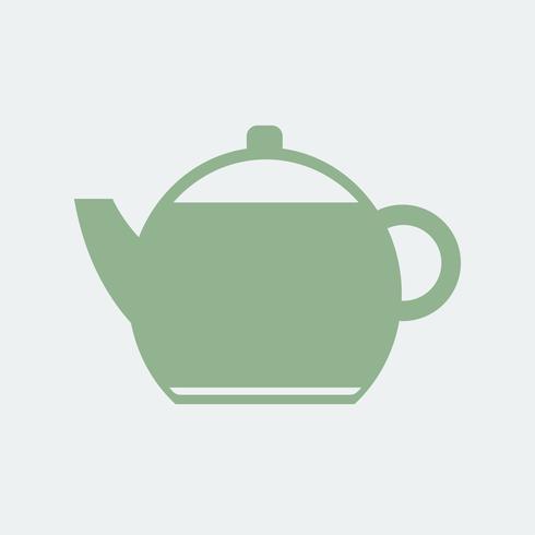 Ilustración de icono de tetera llano verde