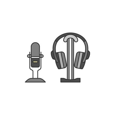 Mikrofon och en hörlursuppsättning illustration