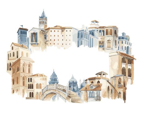 Illustration du style de couleur de l'eau extérieure de la ville méditerranéenne