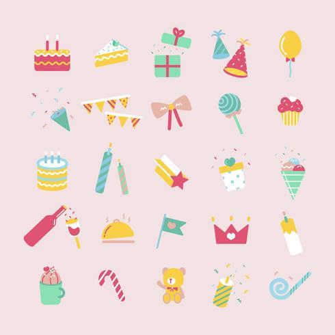 Illustration uppsättning födelsedagsfest ikoner