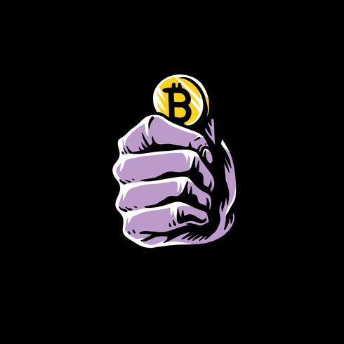 Mano, tenencia, bitcoin, garabato, ilustración