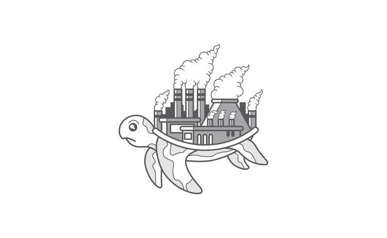 Tortue avec une usine polluée sur le dos