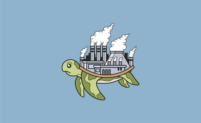 Tartaruga com uma fábrica poluída em sua ilustração de volta
