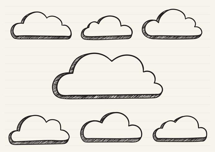 Wolken krabbelden op een notitieblok
