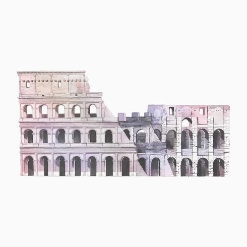 Die römische Colosseum in Rom-Aquarellillustration