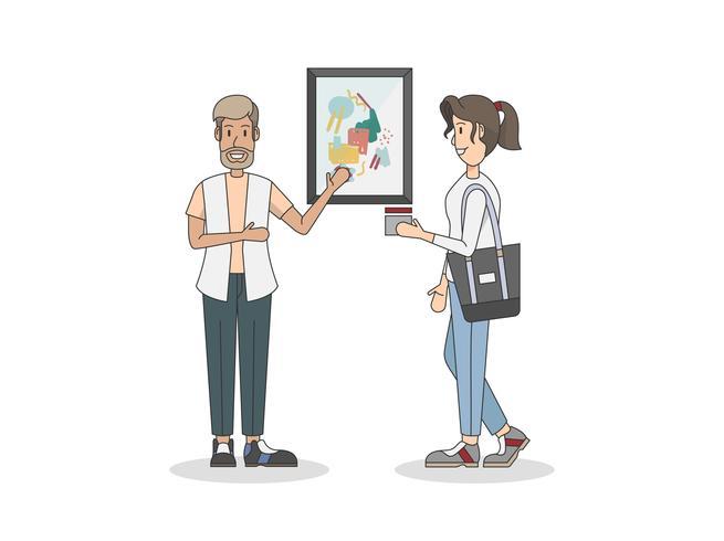 Kunsttentoonstelling en een klant