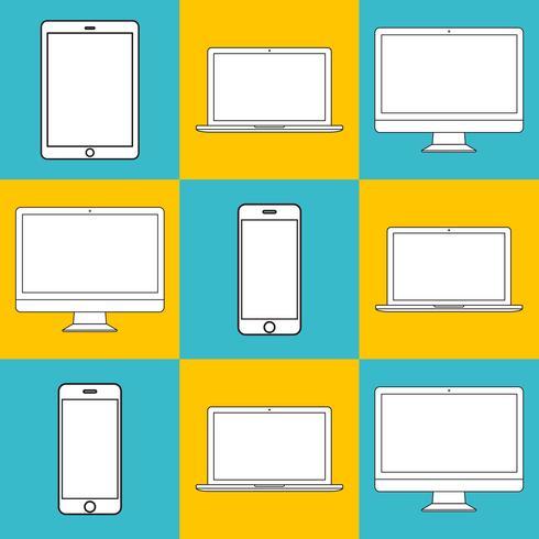 Ilustración de dispositivos digitales aislados.