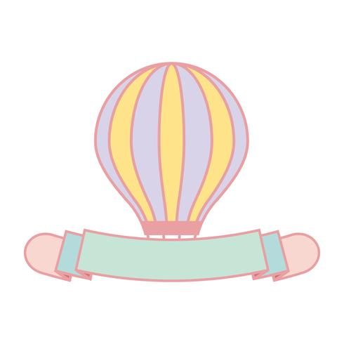 Gullig pastell luftballong banner vektor