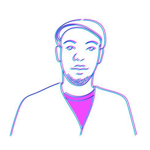 Illustratie van een mens die op witte achtergrond wordt geïsoleerd
