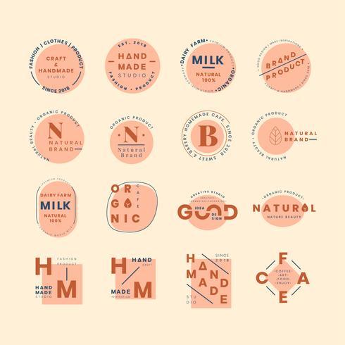 Sats med logo-emblemsvektorer