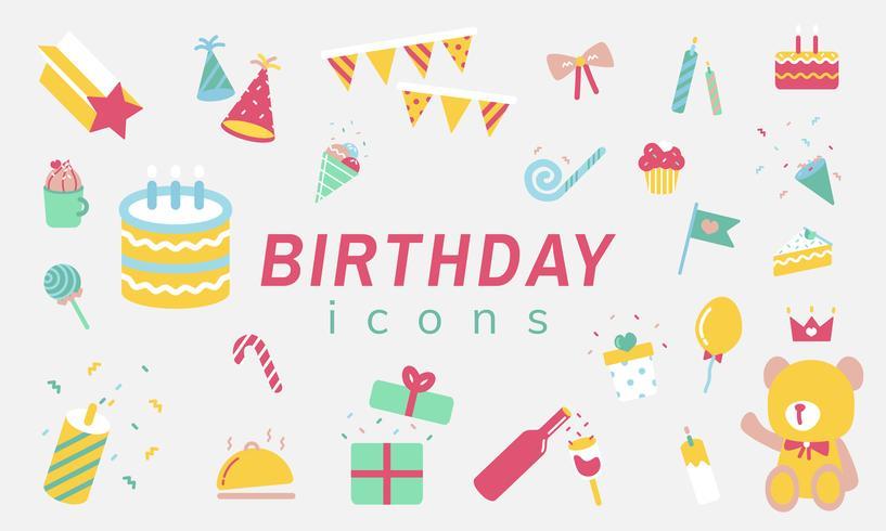 Illustration uppsättning födelsedag ikoner