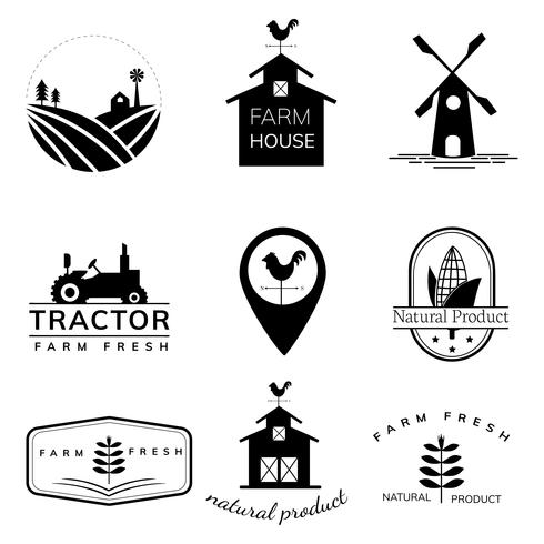 Collection d'illustrations du logo de l'agriculture