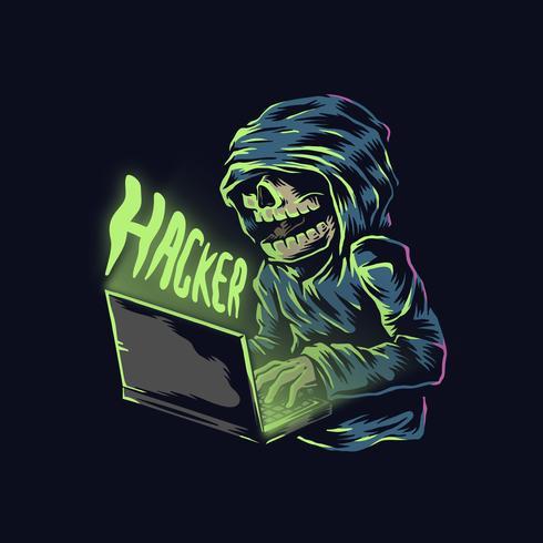 Pirata informatico disegnato a mano del cranio in una felpa con cappuccio