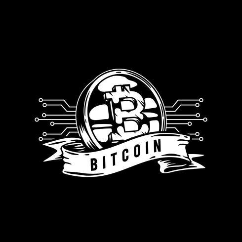 Hand drawn bitcoin icon illustration