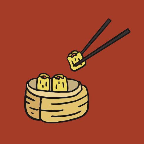 Dim sum, Chinese cuisine menu illustration
