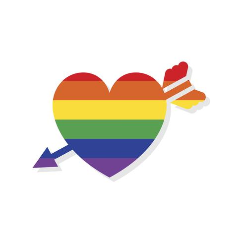 Heart shape lgbt Valentines day icon