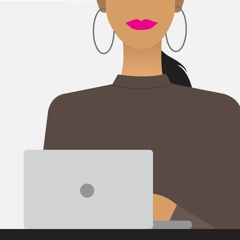 Kvinna med en bärbar dator illustration