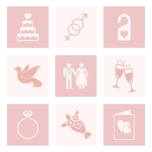 Ensemble de vecteurs d'amour et de mariage