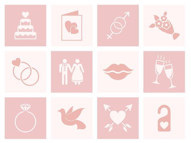 Insieme di vettori di amore e matrimonio