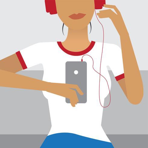 Girl streaming music