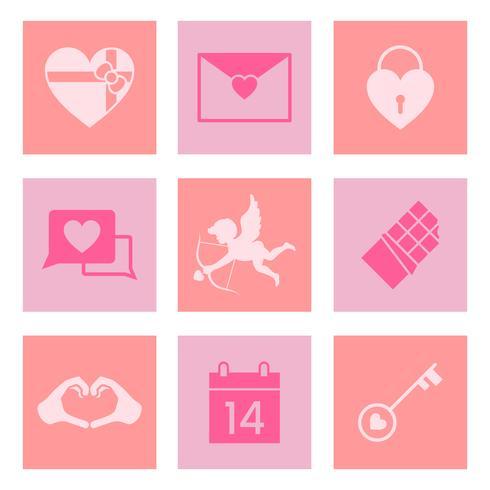 Samling av hjärtans dag kärlek ikoner