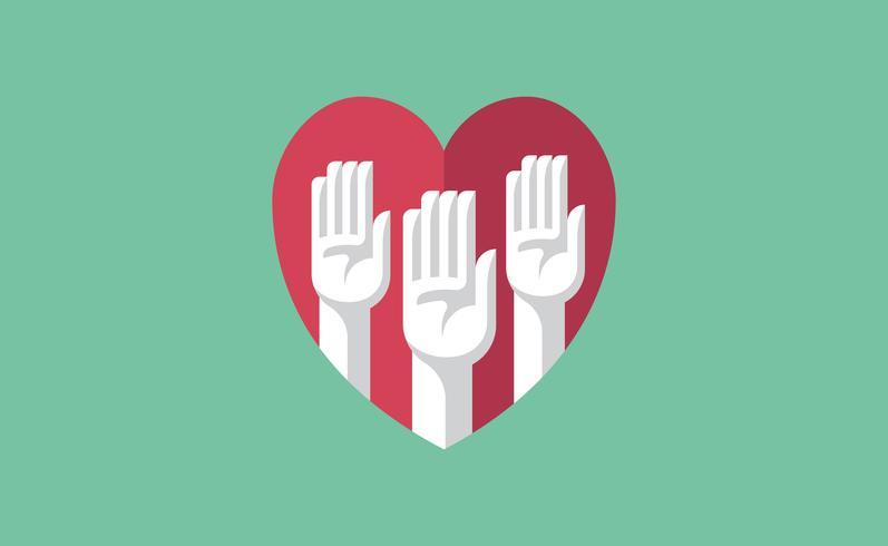 Mani volontarie in un'illustrazione del cuore
