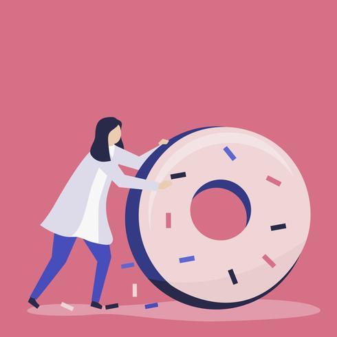 Karaktär av en kvinna som rullar en jätte donutillustration