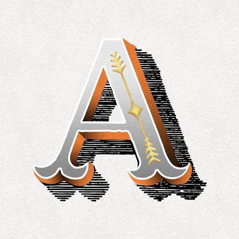 Lettera maiuscola Uno stile tipografico vintage