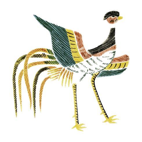 Vintage Illustration of Japanese rooster