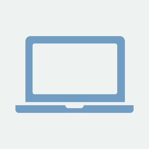 Blue laptop on white background