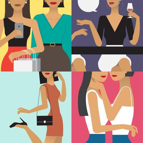 Illustrazione di carattere di stile di vita della donna