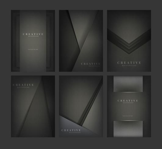 Set of abstract creative background designs in black