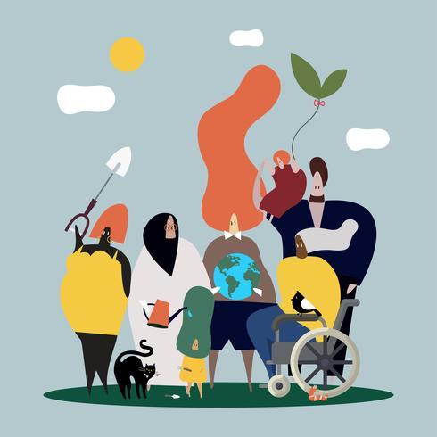 Diverse mensen en globale aardillustratie