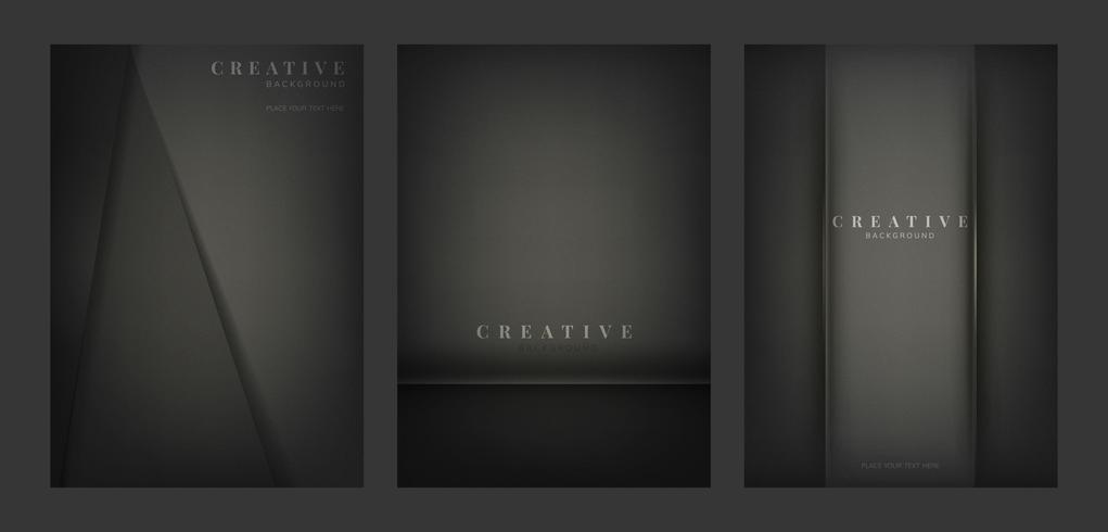 Set av abstrakta kreativa bakgrundsdesigner i svart