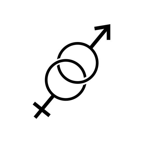 Simboli femminili e maschili che si sovrappongono illustrazione grafica